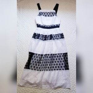 NEW ASOS black and white lace dress long 4 striped